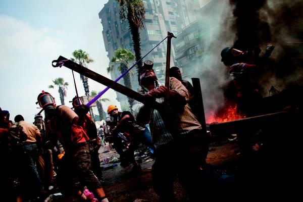Eviction Pro Morsi Supporters camp in Raba Al Adaweeya In Cairo